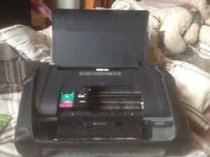 Hp photo printer with paper, ink and a charger