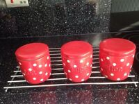 Tea , coffee , sugar , biscuits , bread bin ceramic red containers