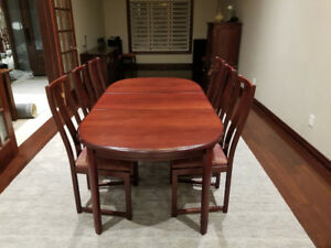 Extendable Cherry Wood Dining Table & 6 high back Chairs