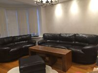 Real Leather sofa set, 3 Seater, 2 Seater and foot stool set,