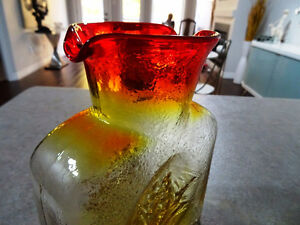 MID-CENTURY Kanawha Glass Carafe ORANGE Amberina Clipper Ship Cambridge Kitchener Area image 6