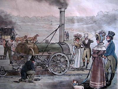 ANTIQUE ENGRAVING 1830 - THE ROCKET - GEORGE STEPHENSON - HAND COLOURED