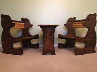 Solid wood table and bear benches.