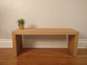 Sleek Modern White Oak Slat Bench Indoor/Outdoor