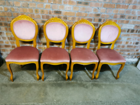 Set of 4 yew wood dining chairs