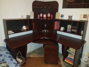 Dark Cherry Desk with Portable Filing Cabinet & Extension Table