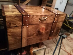 flat top HANDMADE CHEST. TREASURE CHEST,COFFEE TABLE