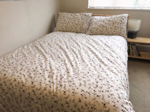 IKEA Double bed + bedside table + lamp + bedding