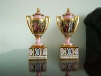 2 small hand painted urns