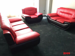 BRAND NEW THREE PIECE LEATHER SOFA SET - FREE DELIVERY IN GTA