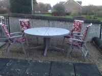 Alexander Rose Garden Table, 4 X John Lewis Recliners, Cushions and Parasol.