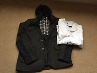 Boys River Island tweed style jacket and grandad shirt aged 12