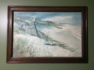 Beach print in wooden frame