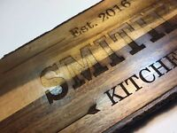 Personalised rustic bark chopping boards