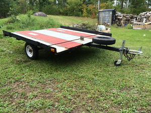 Double-wide tilt  sled trailer