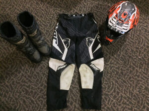 Dirt bike pants, boots and helmet