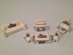 Vintage Miniature Glass Ceramic Dollhouse Furniture