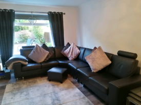 Seven Seater Black Leather Corner Couch