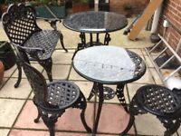 Garden table and chairs and bench