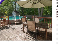 upground pool with accessories