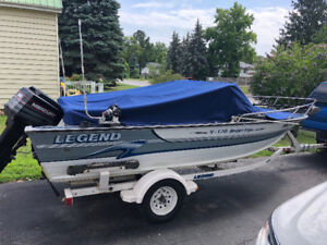 1995 17' legend boat motor and trailer