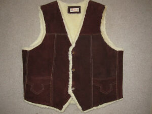 Men's Genuine Leather lined vest with sheep's wool