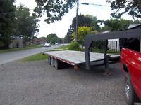 5th wheel tri-axel flat bed trailer