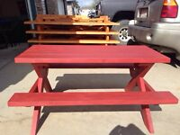Kids fold up wooden picnic  tables