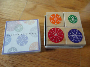 DECORATIVE CIRCLES WOOD MOUNTED RUBBER STAMP SET OF 4