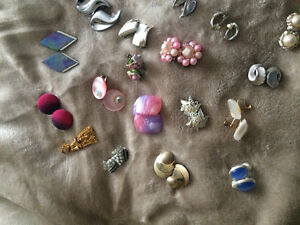 30 Pairs Earrings Clip Screw-on Antique