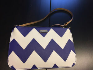 Brand new white and purple chevron Kate Spade clutch