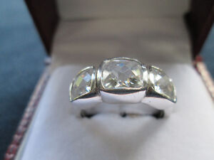 Ladies' Sterling Silver Ring With Diamonelle Stones - Sz 8