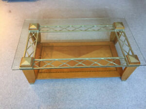 Pine and Glass top coffee and end table