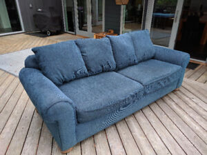 Blue Fabric Sofa in Good Condition - Priced to Sell!