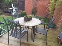 Beautiful Mosaic garden table with 4 metal chairs