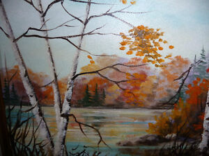 """Charming Roy Robson """"By The Birches"""" Original Oil Painting 1989 Stratford Kitchener Area image 3"""