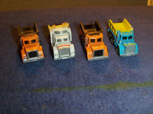 LOT OF 4 GALOOB MICRO MACHINE PLASTIC DUMP TRUCKS-1987-VINTAGE!