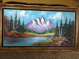 Vintage Mountain Scene Oil Painting