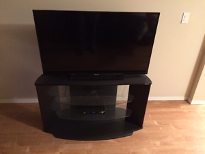 Nice Black TV Stand With Glass Shelves