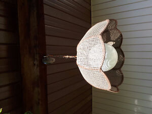 2 hanging pendent lights wicker shades