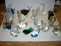 Coloured Glass Animal  Paperweights (14)