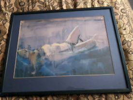 Framed Watercolour female nude painting