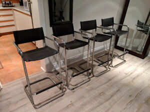 Set of 4 leather & chrome directors' chair barstools