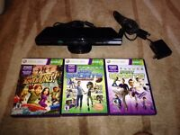 Xbox 360 Kinect With all cable & 3 Games