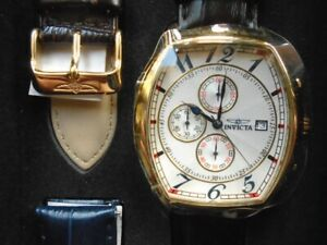 Men's Invicta 18K Gold Plated Watch With 3 Leather Bands