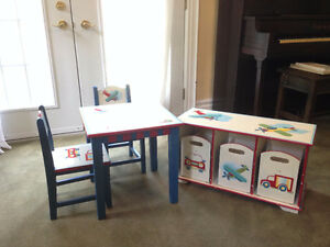 Matching Wooden Table and Toy Shelf