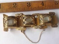 A beautiful damascene bracelet with mother of pearl inlay