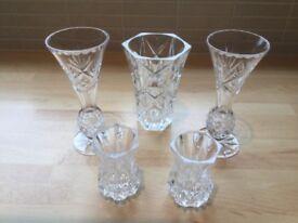 Glass Vase & Four Glass Ornaments