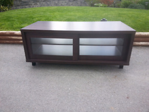 Chocolate brown tv stand with glass doors
