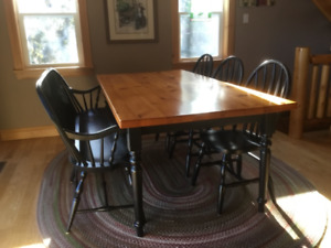 Custom 8 ft pine table and chairs
